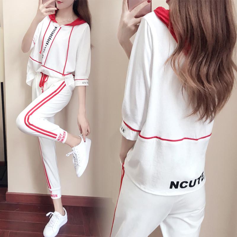 九分裤运动两件套装女夏季2018新款时尚潮学生宽松五分短袖休闲服