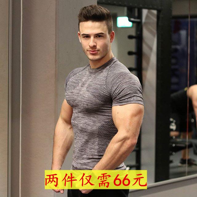 肌肉运动兄弟狗男健身速干紧身上衣夏季跑步训练弹力透气短袖T恤