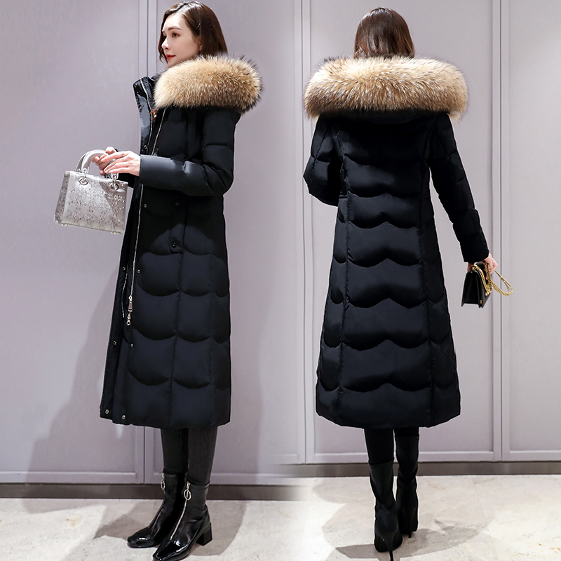 Anti-season selling clearance long down jacket female winter long 2021 new brand large size long over the knee thick