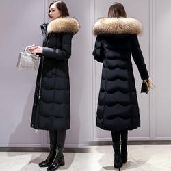 长款羽绒服女冬中长款2020年新款品牌时尚白鸭绒长过膝加厚真毛领