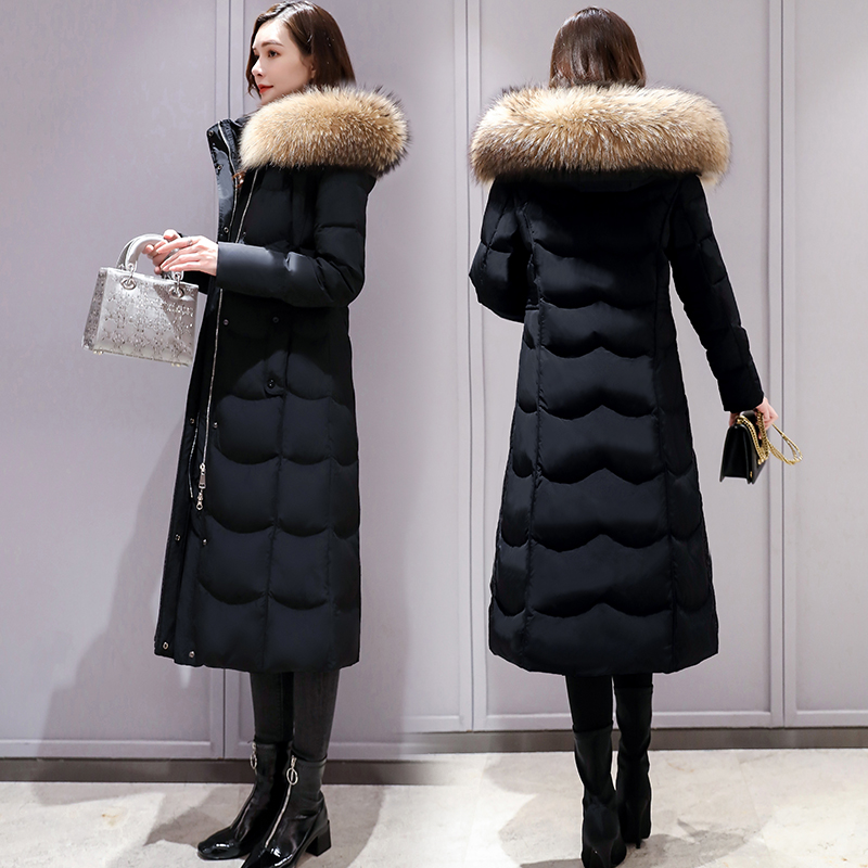 Real wool collar off season clearance special long down jacket women's knee length 2019 new medium and long style thickened