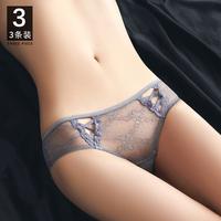 查看女士蕾丝三角内裤女性惑舒适纯棉裆女生薄款情调低腰性感夏季短裤价格