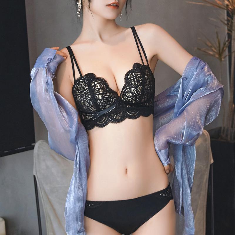 蕾丝聚拢无钢圈文胸内衣裤女套装性感惑调整型收副乳小胸罩上托