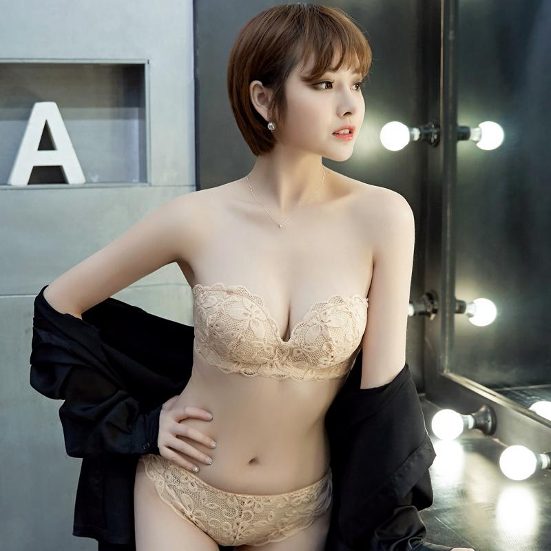蕾丝无肩带内衣裤女士聚拢无钢圈文胸套装防滑美背性感无带小胸罩