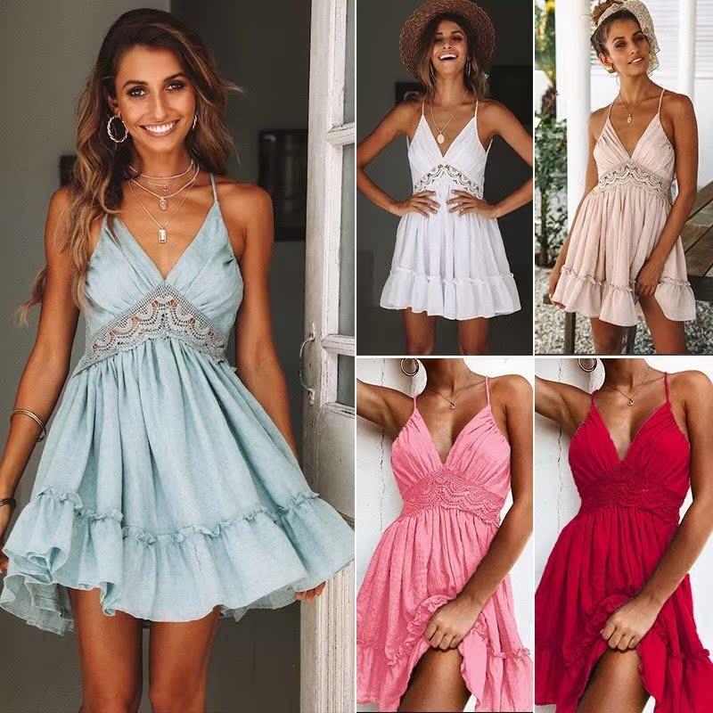 夏季性感露背吊带腰部花边裙Women's sexy  dress  party dresses