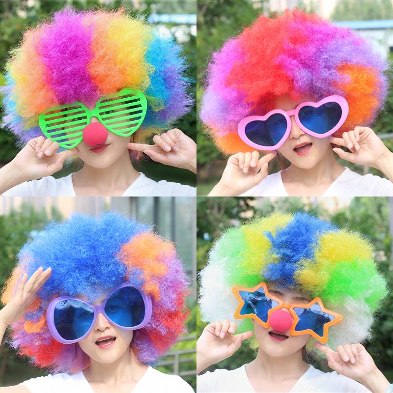 万圣节化妆舞会搞笑帽子小丑假发套爆炸发球迷发超大彩发套头饰品