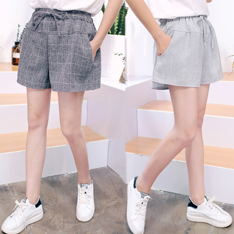 Shorts womens summer 2020 new Korean loose and fat mm show thin high waist and wide legs summer versatile large leisure lattice