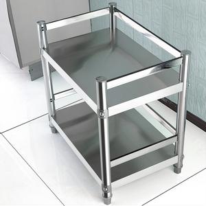 不锈钢带护栏置物架二层厨房落地多层储物架子双层微波炉多功能架