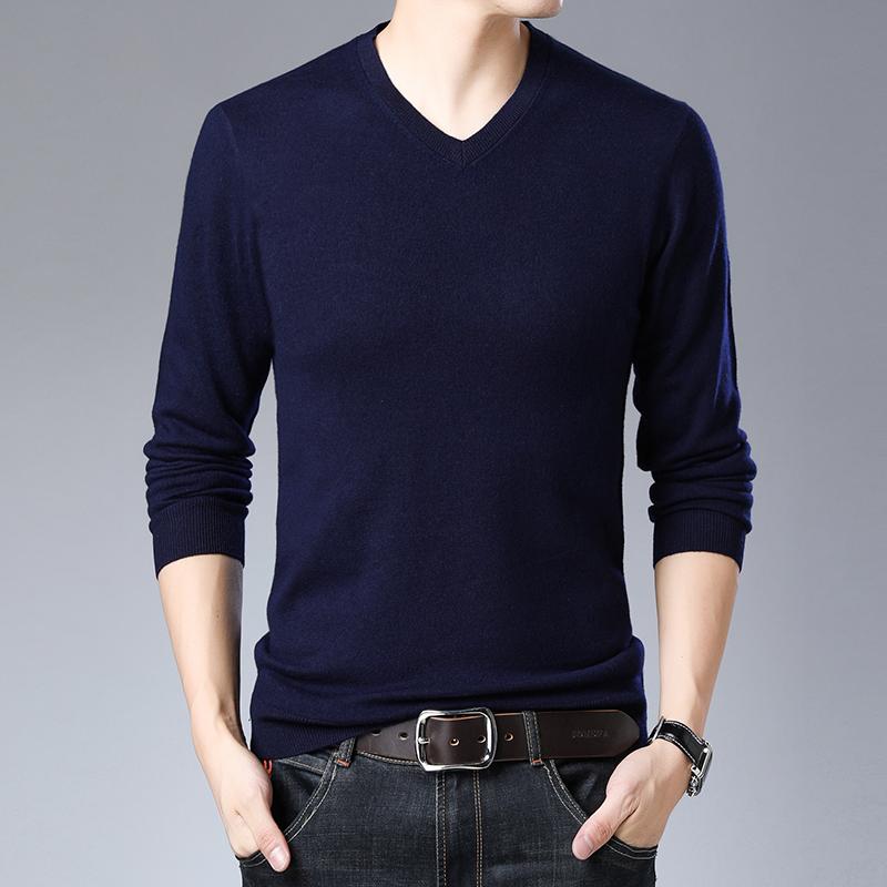 恒源祥春薄羊毛衫男中年爸爸纯色针织打底衫套头男士t恤衫V领毛衣