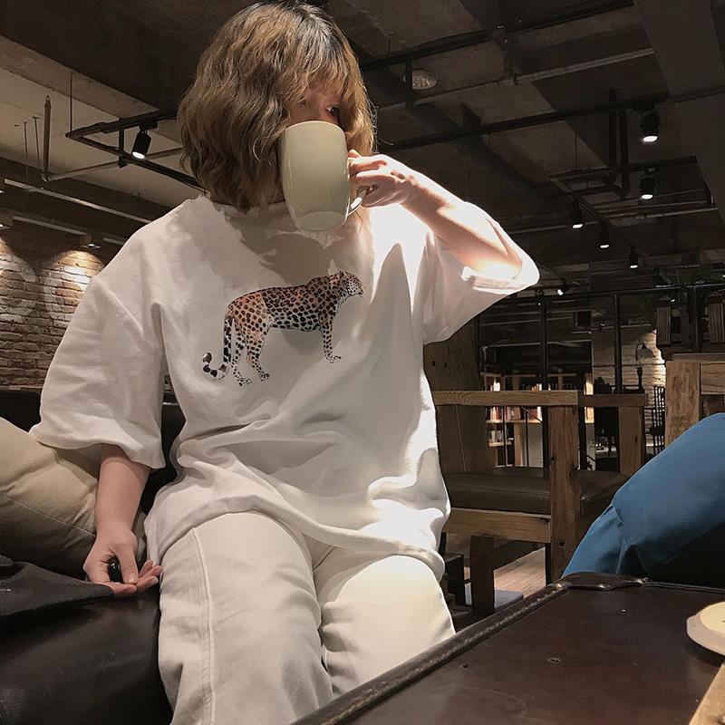 实拍实价 ulzzang原宿风bf印花中长款短袖t恤衫春夏