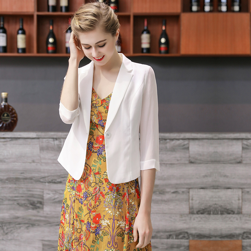 chic small suit jacket female thin chiffon 2021 new Korean version of OL professional suit jacket short summer wild