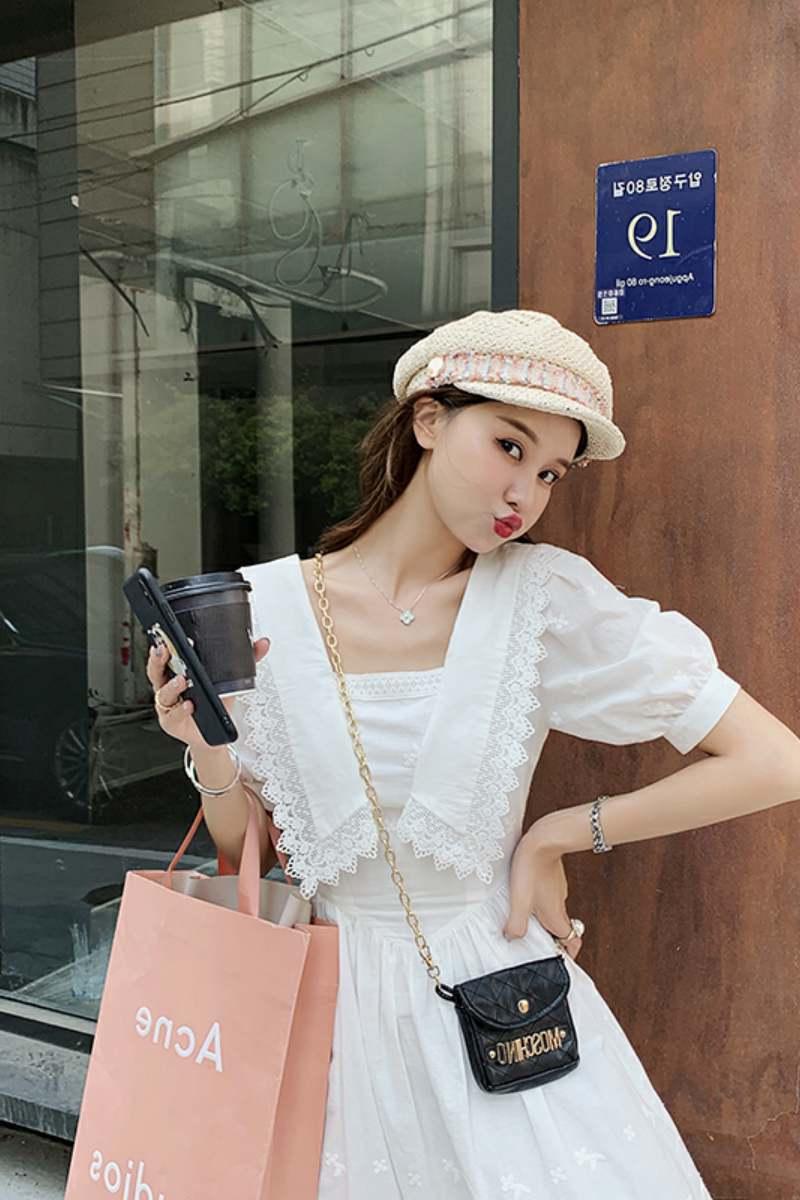 智熏法式桔梗初戀白色仙女裙子女裝夏季新款長裙到腳踝收腰連衣裙