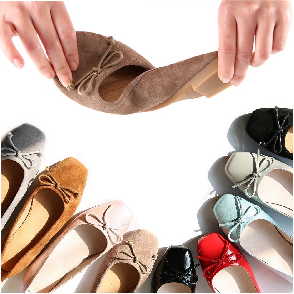 日本购拙雅真皮浅口方头平底船鞋多色女同款蝴蝶结芭蕾舞单鞋女春