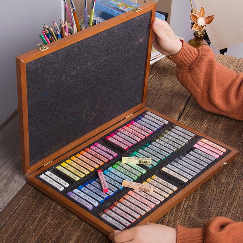 韩国盟友色粉笔72色木盒大师级彩色粉笔颜料彩绘色粉手绘绘画专业画画套装初学者粉彩棒画笔美术用品工具