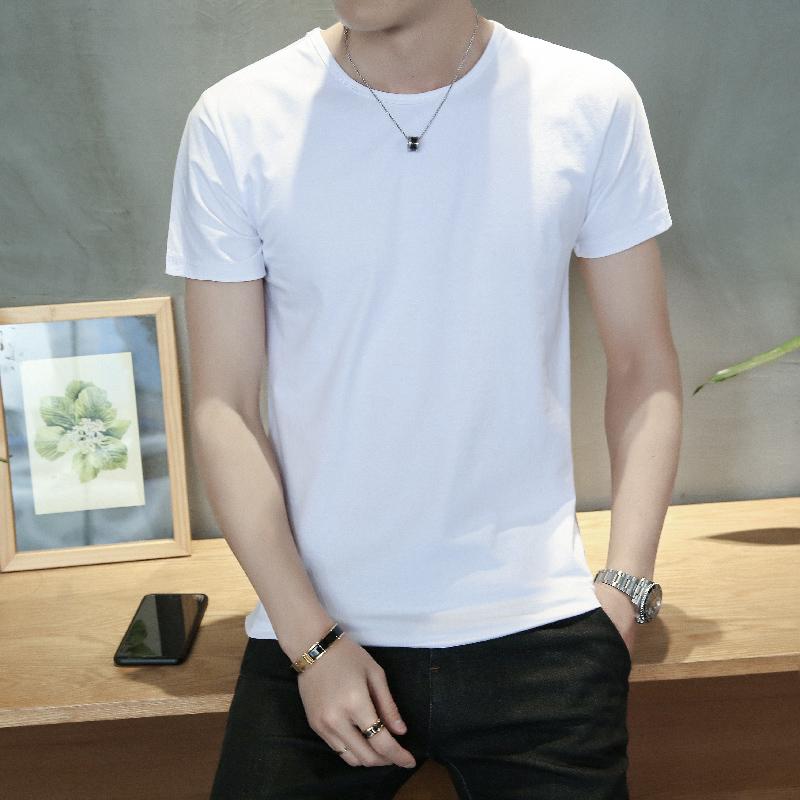 男士纯白色短袖t恤带字体恤修身打底衫潮流简单半袖个性百搭衣服热销3948件限时2件3折