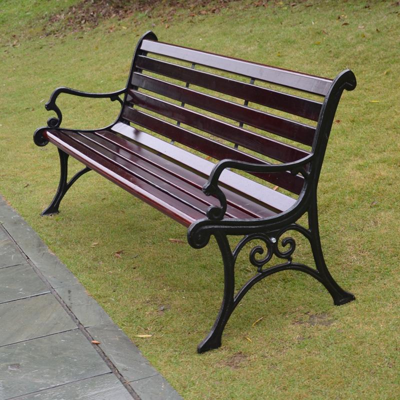 公园户外长椅休闲椅阳台椅子庭院椅防腐木铸铁排椅室外实木座椅