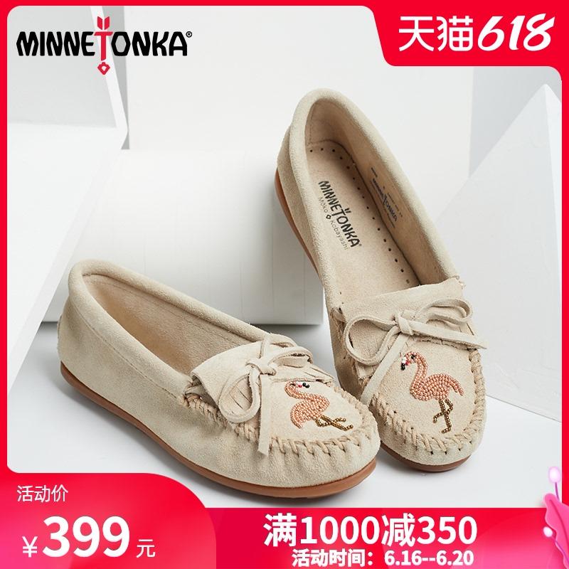 MINNETONKA迷你唐卡手工豆豆鞋女 火烈鸟串珠图案款小白鞋单鞋女
