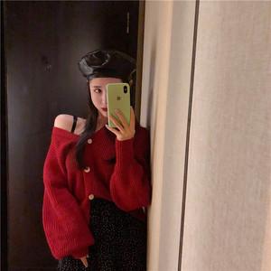 长袖针织上衣女秋冬新款2020洋气慵懒风红色打底衫宽松毛衣开衫潮