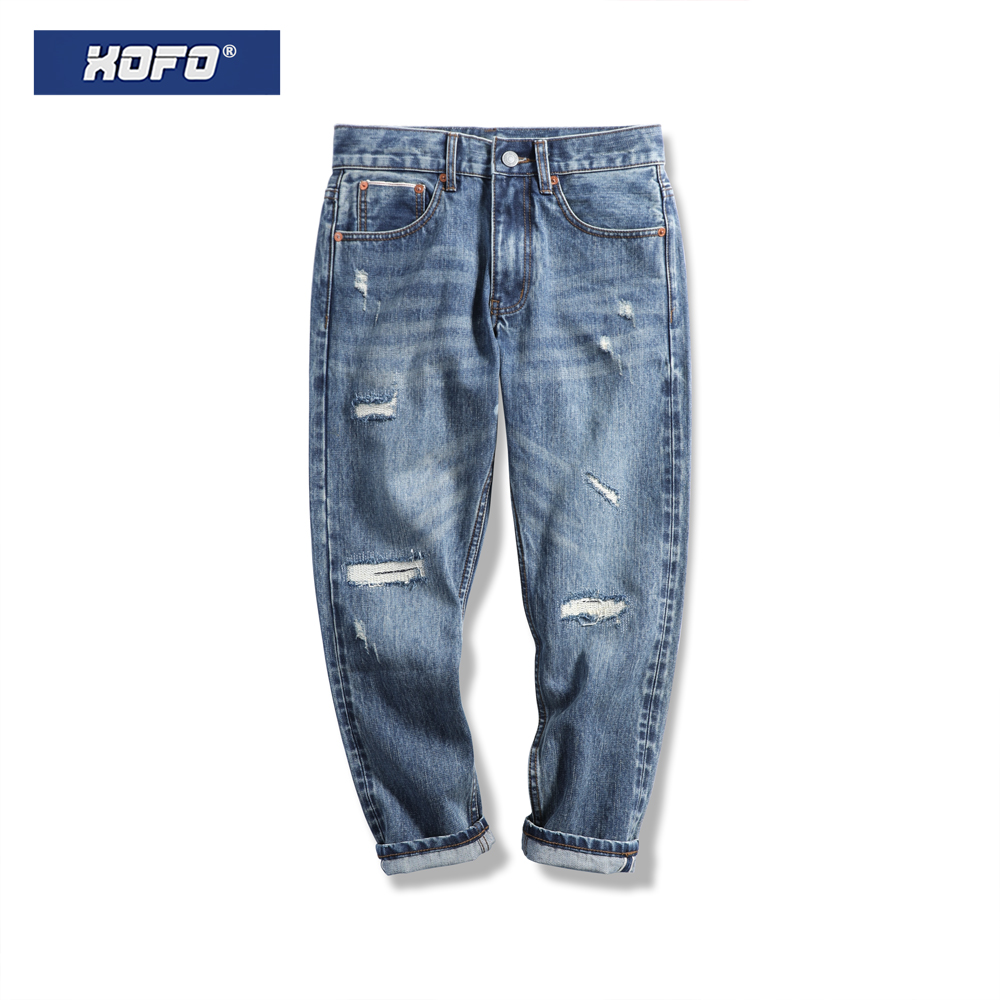 Hole patch Hong Kong style old loose casual Cropped Pants Red Ear denim jeans trendy men's straight leg pants