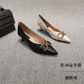 2021早春新款女鞋欧洲站尖头浅口三厘米小跟鞋 3cm单鞋软皮高跟鞋