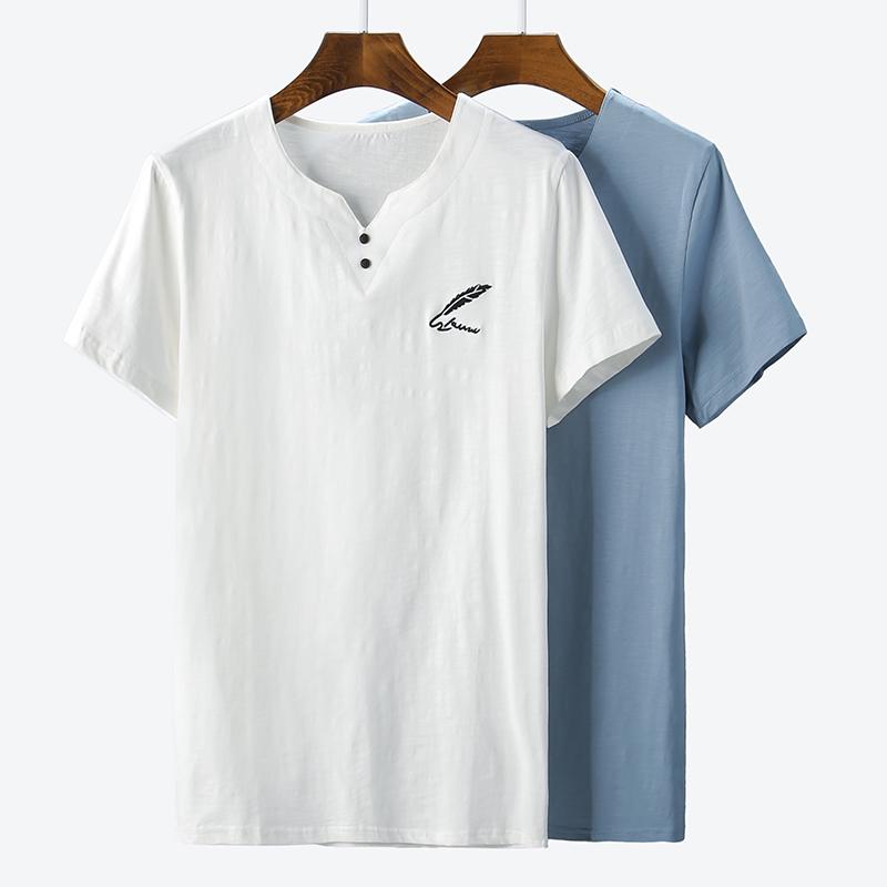 诗森堡精棉男士短袖t恤 羽毛图案短轴韩版潮流夏天衣服时尚潮流