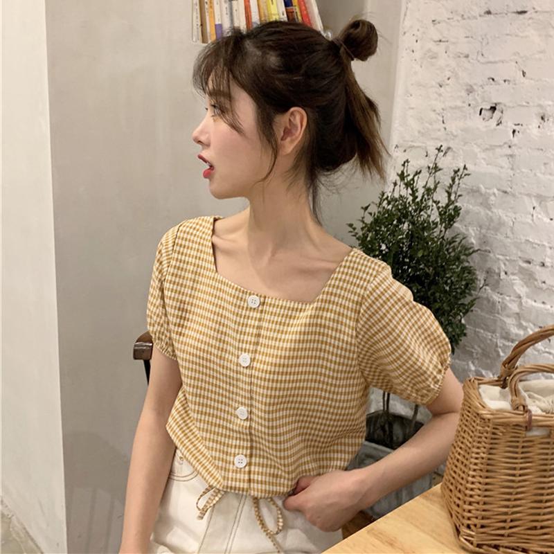 格子上衣女2020夏季新款韩版宽松短款系带短袖衬衫设计感小众衬衣