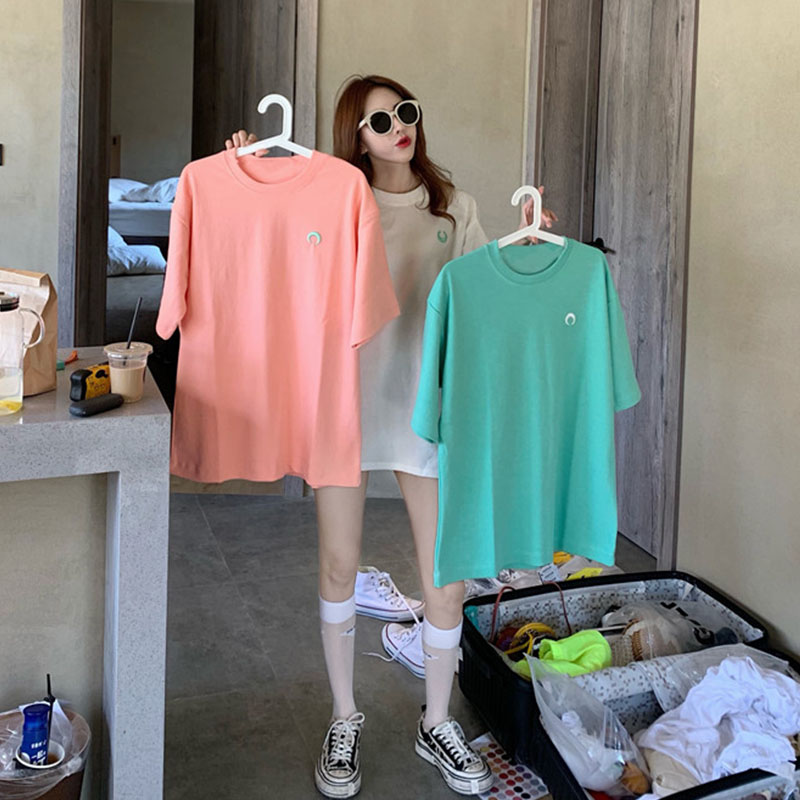 Korean moon embroidery candy color short sleeve T-shirt for women 2020 summer new loose and versatile student casual top