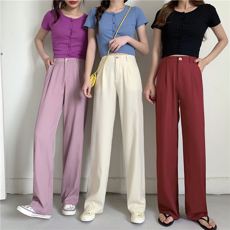 Summer 2020 new Korean version of high waisted slim loose wide leg mopping pants suit, trousers, drape feeling, straight pants children