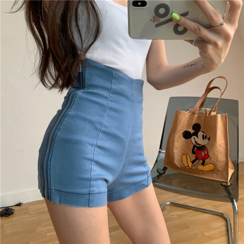 Retro High waist side zip stretch jeans summer skinny A-line shorts Korean casual hot pants womens fashion