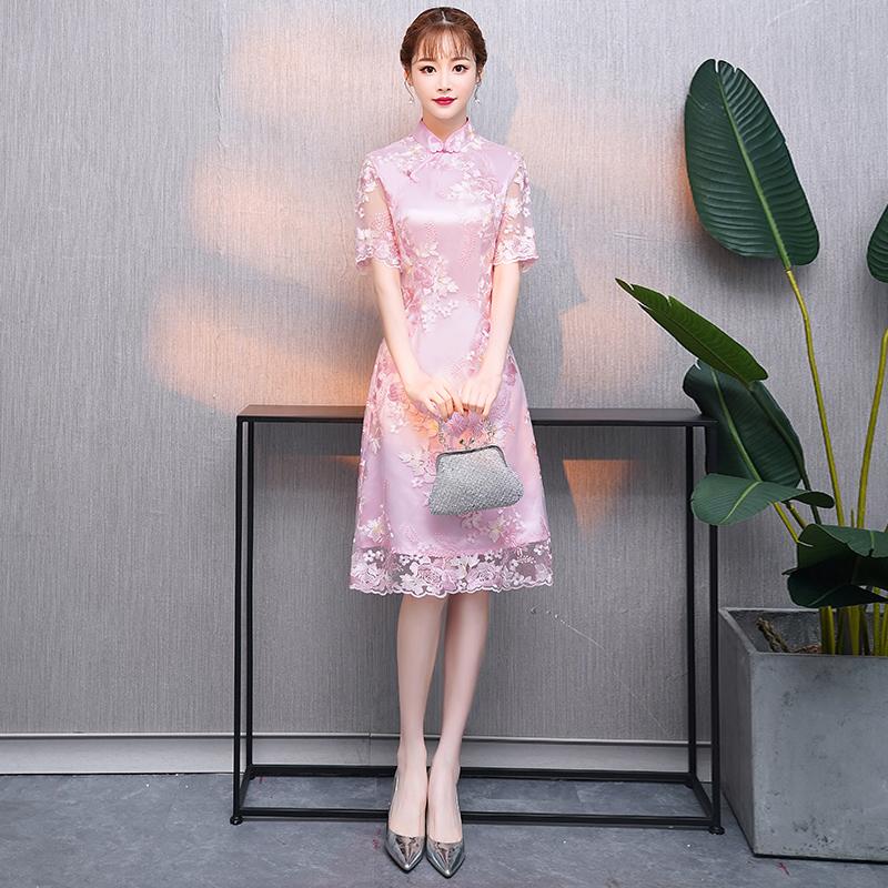 改良版旗袍甜美2018新款女时尚少女中长款中国风蕾丝小香风连衣裙