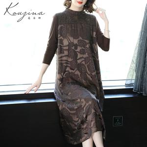 2020春夏季新款女装气质复古拼接真丝连衣裙中长款桑蚕丝裙子过膝