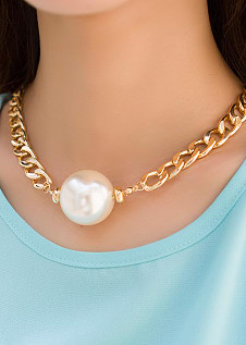 Package mail European and American fashion foreign trade personality trendsetter super large pearl thick chain luxury queen retro short necklace promotion