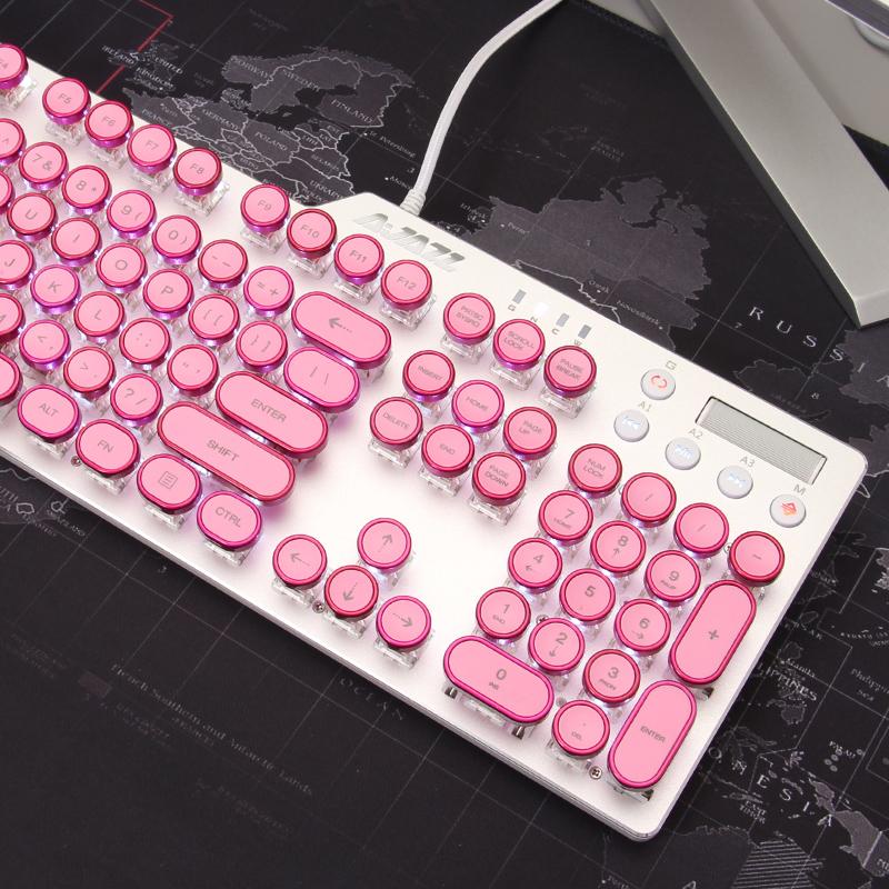 黑爵ak35i蒸汽朋克机械键盘,少女心粉色礼物