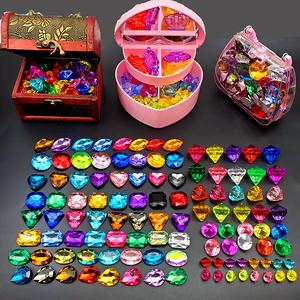 儿童宝石玩具水晶钻石水晶石亚克力彩色石头动物摆件装饰品