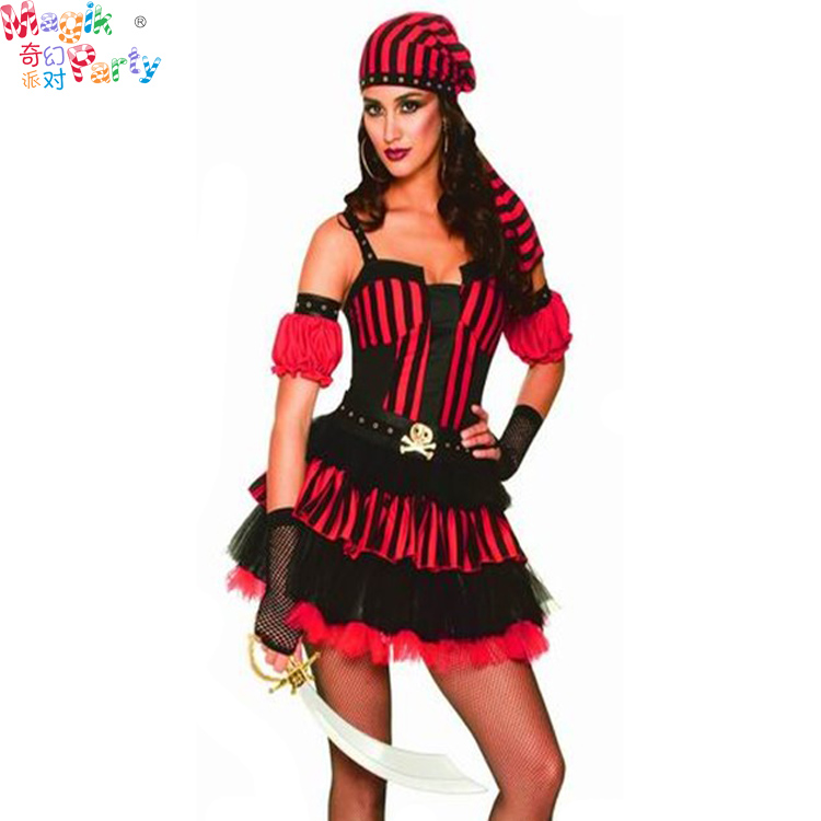 Halloween Costume female adult jack of the Caribbean Pirate Captain cosplay costume