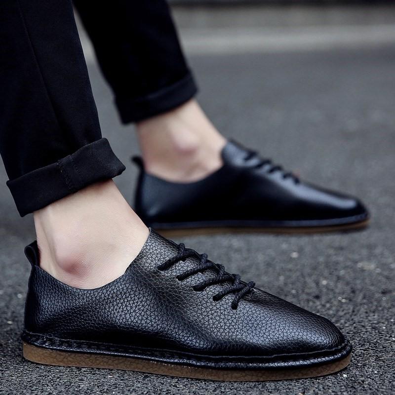 休闲皮鞋男英伦系带圆头春季青年男士商务男鞋透气韩版软底小皮鞋