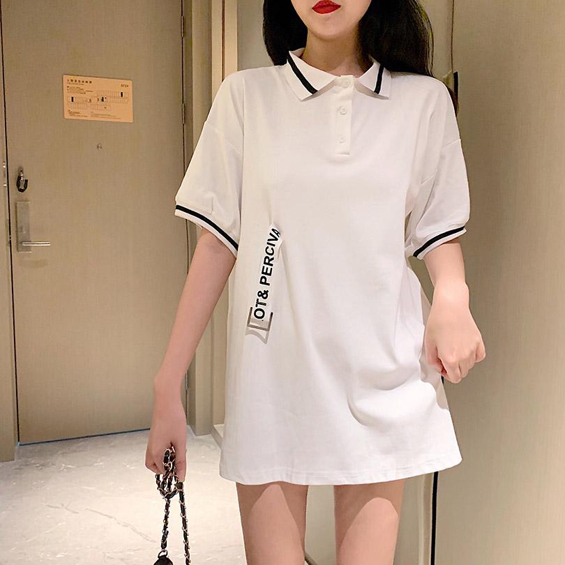 实拍 控35 ins超火的短袖T恤女韩版宽松百搭刺绣飘带中长款上衣