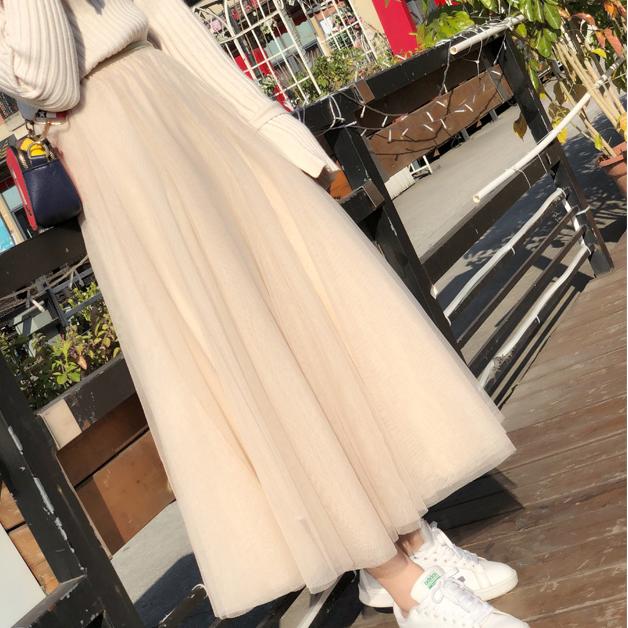 2020秋冬网纱半身长裙女中长款超仙到脚踝垂感白色裙子冬天配毛衣