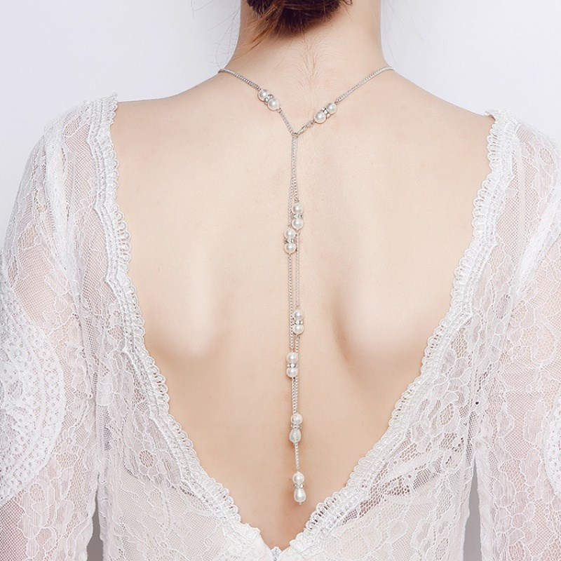 Peisheng bride wedding dress body chain back Europe and America New Necklace tassel leakage back chain open back pearl dress with