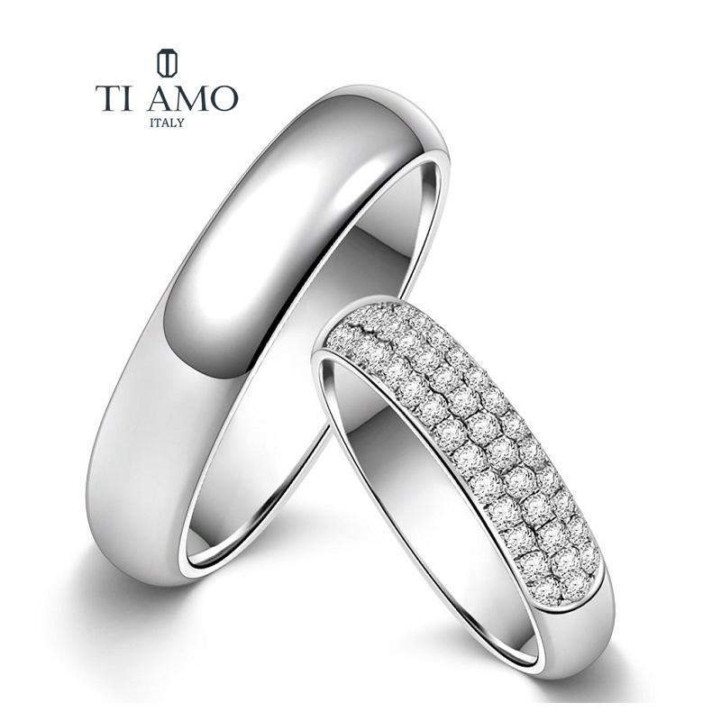 Tiamo Ring 18K gold platinum Italian Tiamo I love you star couple wedding ring