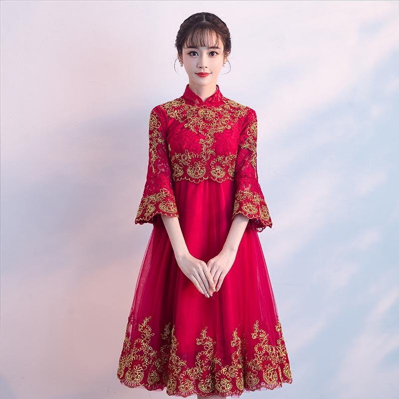 孕妇敬酒服新娘夏季2018结婚新款红色回门连衣裙高腰遮肚短款礼服