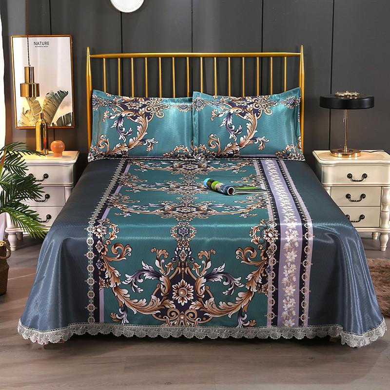 富安那家纺床品提花水洗床单冰丝席三件套可折叠花边冰丝席夏凉席
