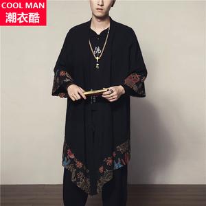 夏季中国风中长款大码男装复古薄款棉麻防晒开衫民族披风衣外套潮