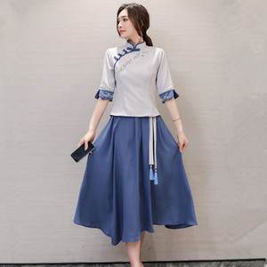 民国风复古女装两件套夏2021年新款唐装中国风春款改良旗袍连衣裙