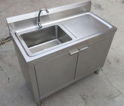 商用不锈钢推拉门工作台带水槽操作台储物柜厨房酒店奶茶打荷台橱