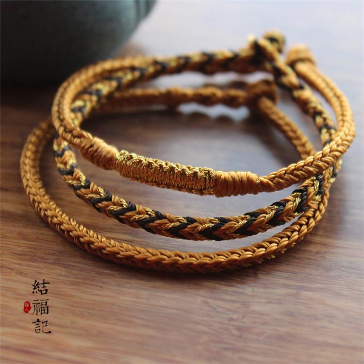 Rich gold hand woven bracelet jade Cong knot wealth peace Knot Bracelet men and women lovers wear hard gold and silver bracelets