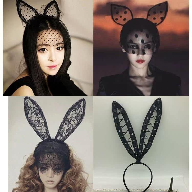 超大成人发窟 可爱 头箍 黑色兔耳朵夜店女童兔女郎韩版猫咪
