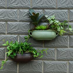水培粘墙上半壁挂花盆陶瓷欧式创意绿萝悬挂式多肉个性阳台垂吊盆