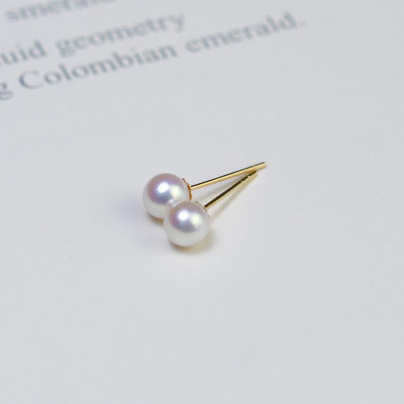 Yueji Zhuji 18K Gold Aurora pearl ear pin tiannv small light bulb Akoya small earrings basic Earrings Gold