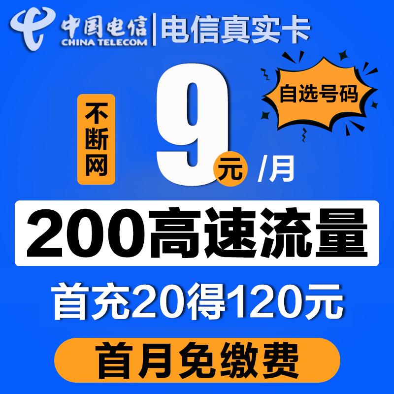 电信流量无限卡0月租4G5G手机大王卡全国通用不限速纯流量上网卡